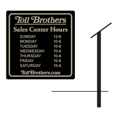 Multi City Hours Sign and Post